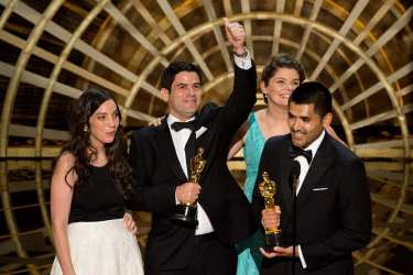 "Gabriel Osorio and Pato Escala accept the Oscar® for Best animated short film, for work on ""Bear Story"" during the live ABC Telecast of The 88th Oscars® at the Dolby® Theatre in Hollywood, CA on Sunday, February 28, 2016."